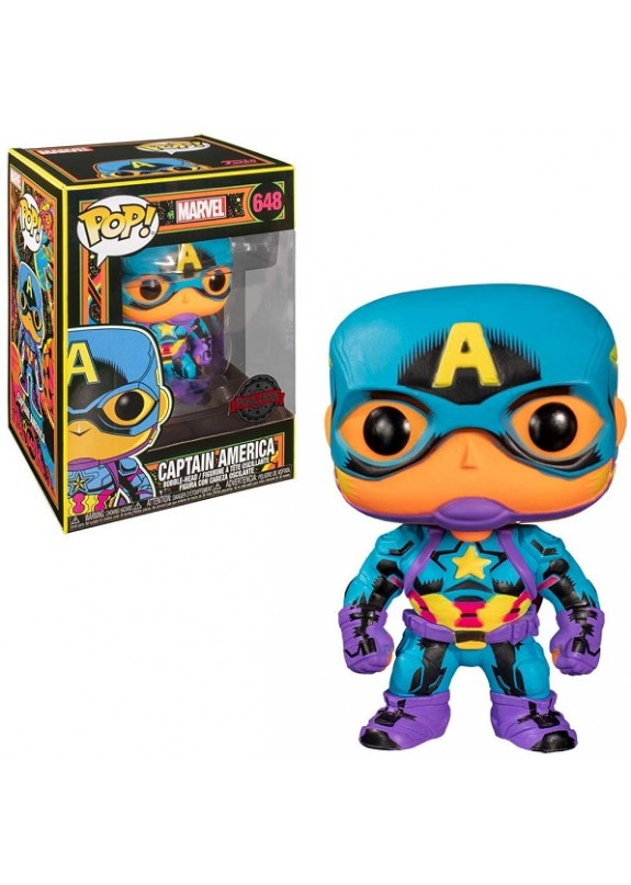 MARVEL BLACK LIGHT CAPTAIN AMERICA FUNKO POP #648